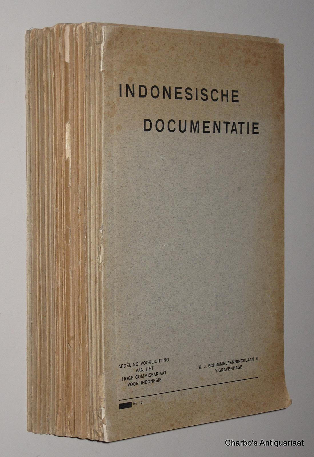 INDONESISCHE VOORLICHTINGSDIENST, -  Indonesische Documentatie: 1952, nos. 15, 16, 17, 19,  25 Oct. - 20 Dec. 1952. From 1953: Indonesisch Bulletin: 1954, nos. 3-10, 12; 1955, no. 1; 1956, nos. 2-7; 1957, nos. 2-3.