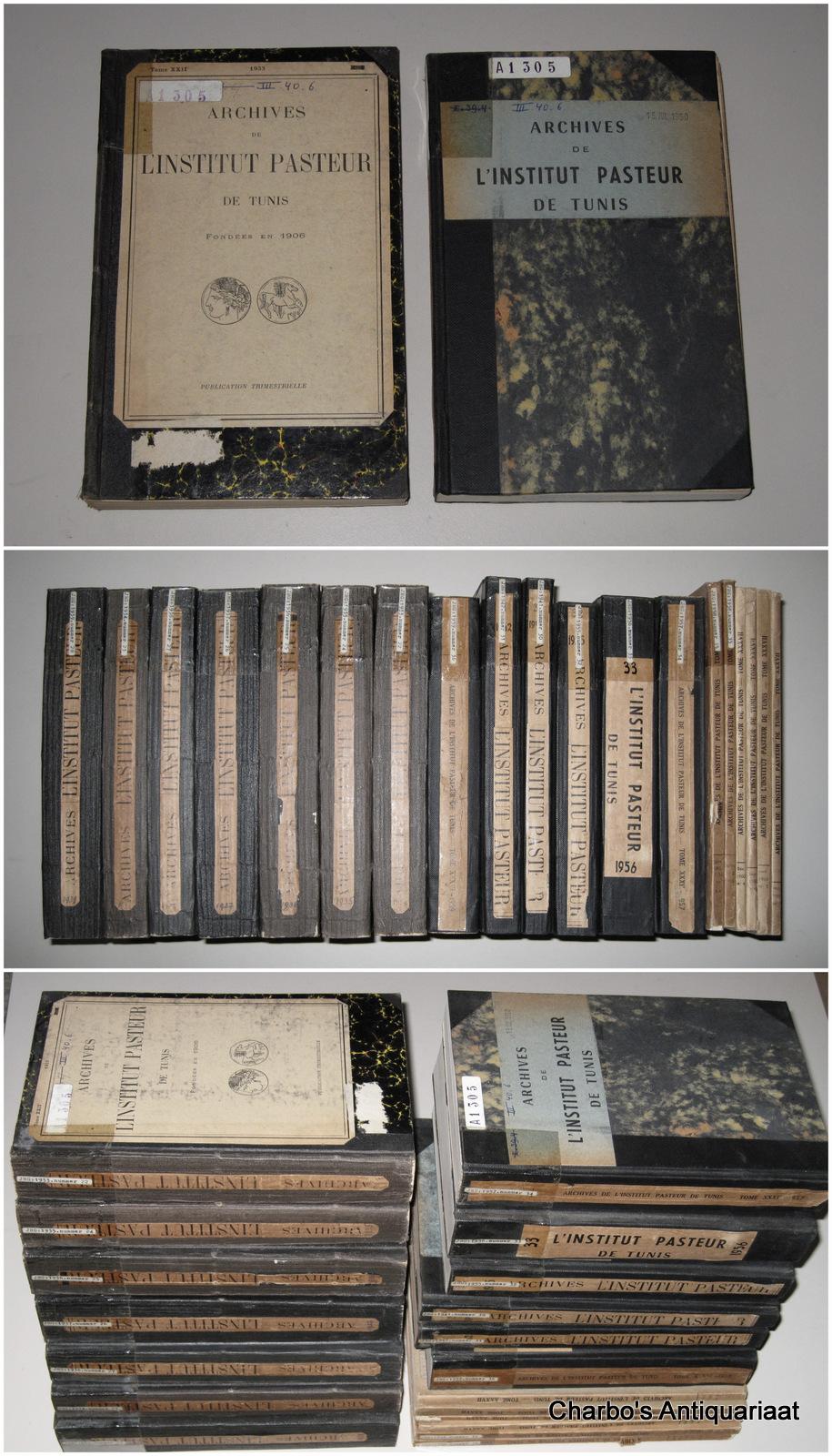 INSTITUT PASTEUR DE TUNIS, -  Archives de l'Institut Pasteur de Tunis, tomes 22-37, 1933-1960. Publication trimestrielle. (Lacks vol. 29, 1940 & vol. 35, 1958, issue no. 1).