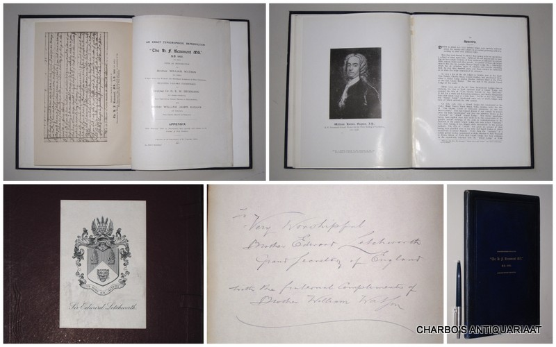 WATSON, WILLIAM (INTRODUCTION), -  An exact typographical reproduction of