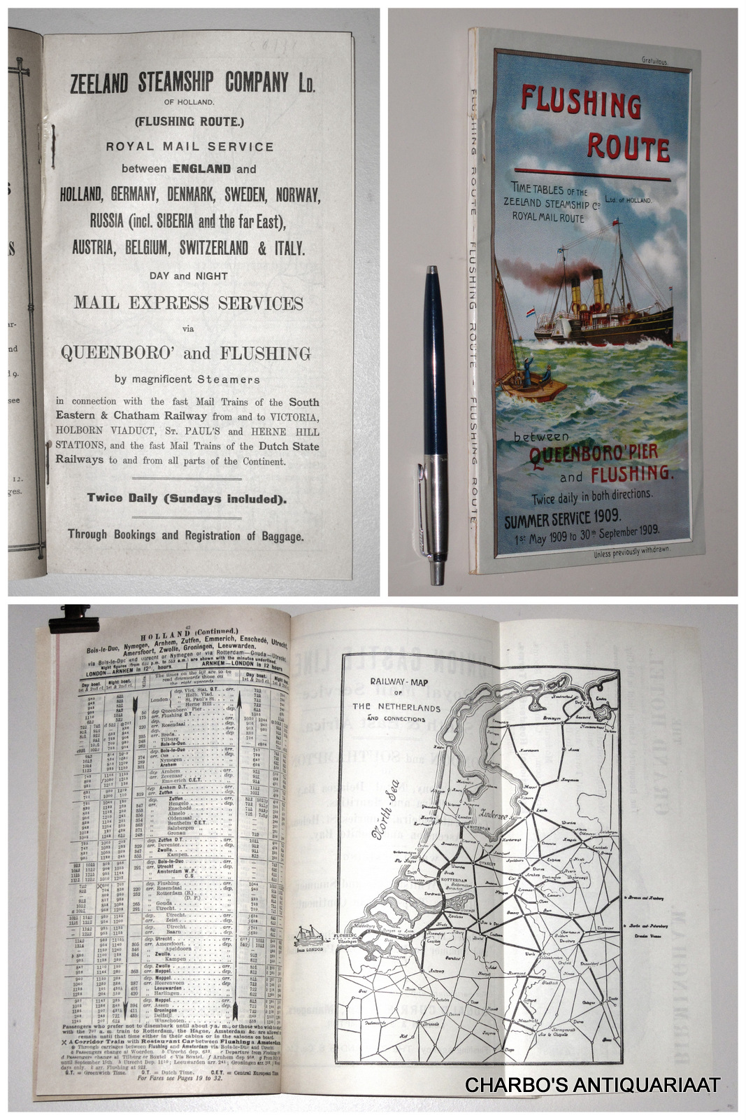 STOOMVAART MAATSCHAPPIJ ZEELAND, -  Flushing route. Time tables of the Zeeland Steamship Co. Royal mail route between Queenboro's Pier and Flushing. Summer service 1909.