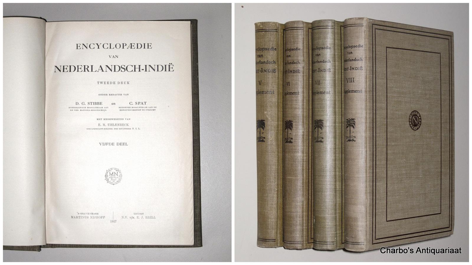 STIBBE, D.G. (ET AL, EDS.), -  Encyclopaedie van Nederlandsch-Indië. Vijfde - achtste deel (supplement vols.).