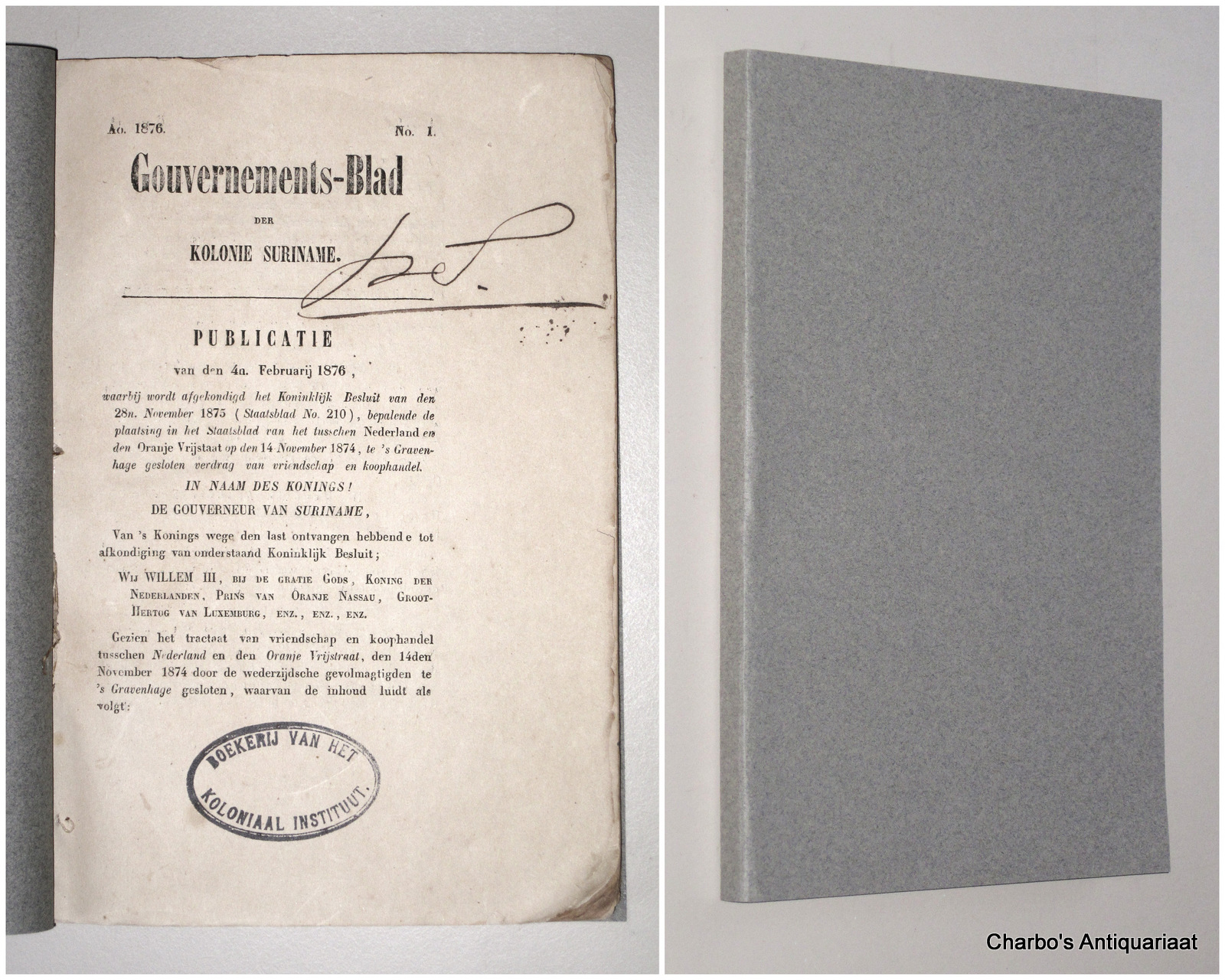 SURINAME. -  Gouvernements-blad der Kolonie Suriname 1876.