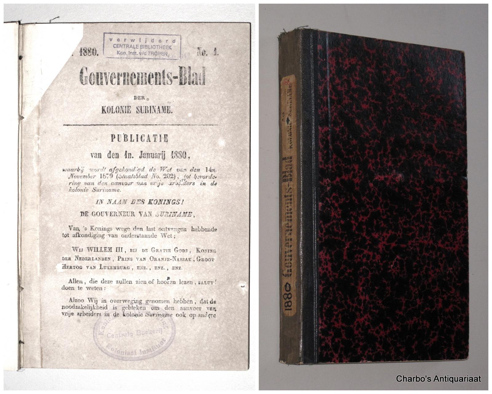 SURINAME. -  Gouvernements-blad der Kolonie Suriname 1880.