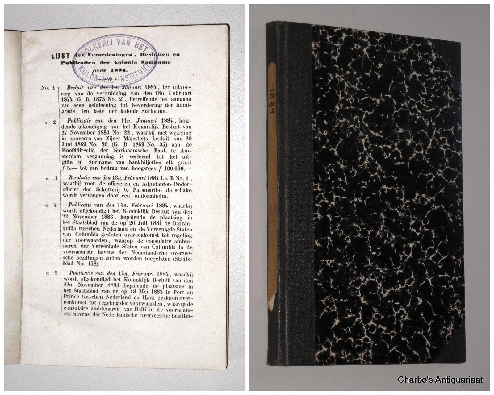 SURINAME. -  Gouvernementsblad der Kolonie Suriname 1884.
