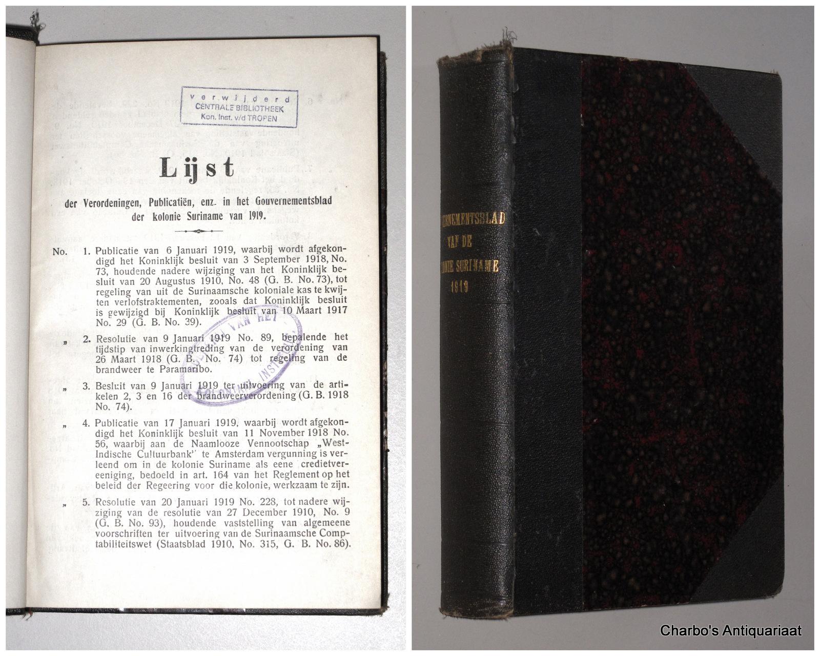 SURINAME. -  Gouvernementsblad van de Kolonie Suriname 1919.