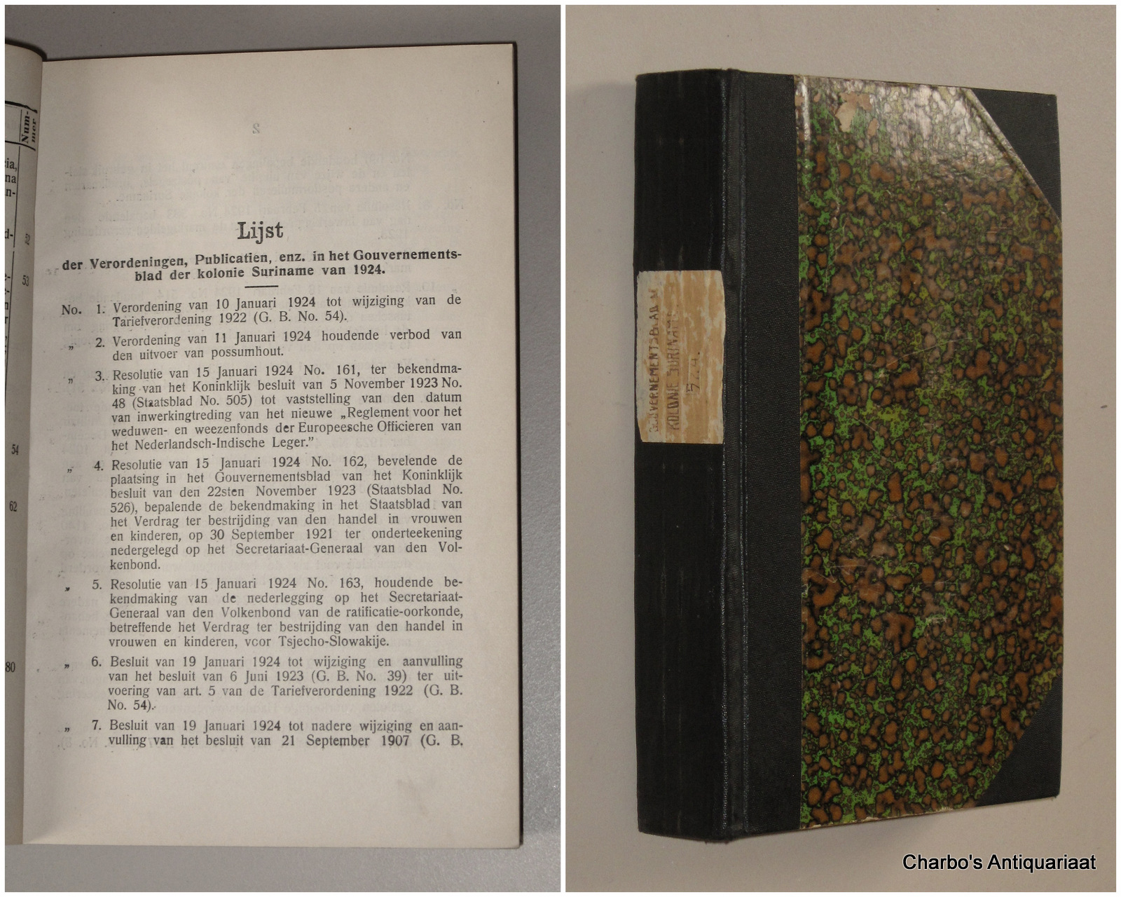 SURINAME. -  Gouvernementsblad van de Kolonie Suriname 1924.