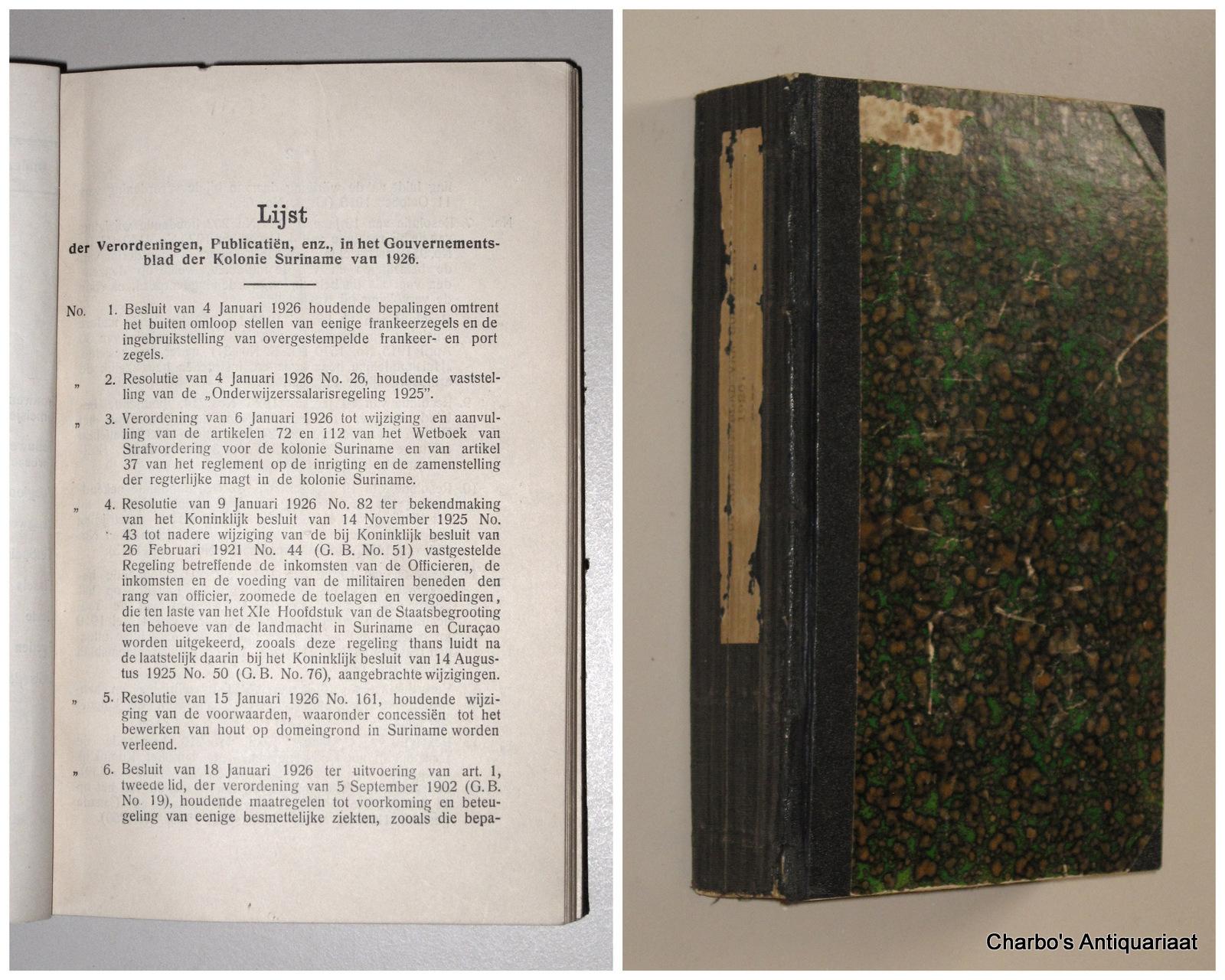 SURINAME. -  Gouvernementsblad van de Kolonie Suriname 1926.