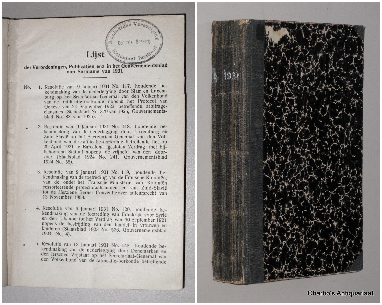 SURINAME. -  Gouvernementsblad van de Kolonie Suriname 1931.