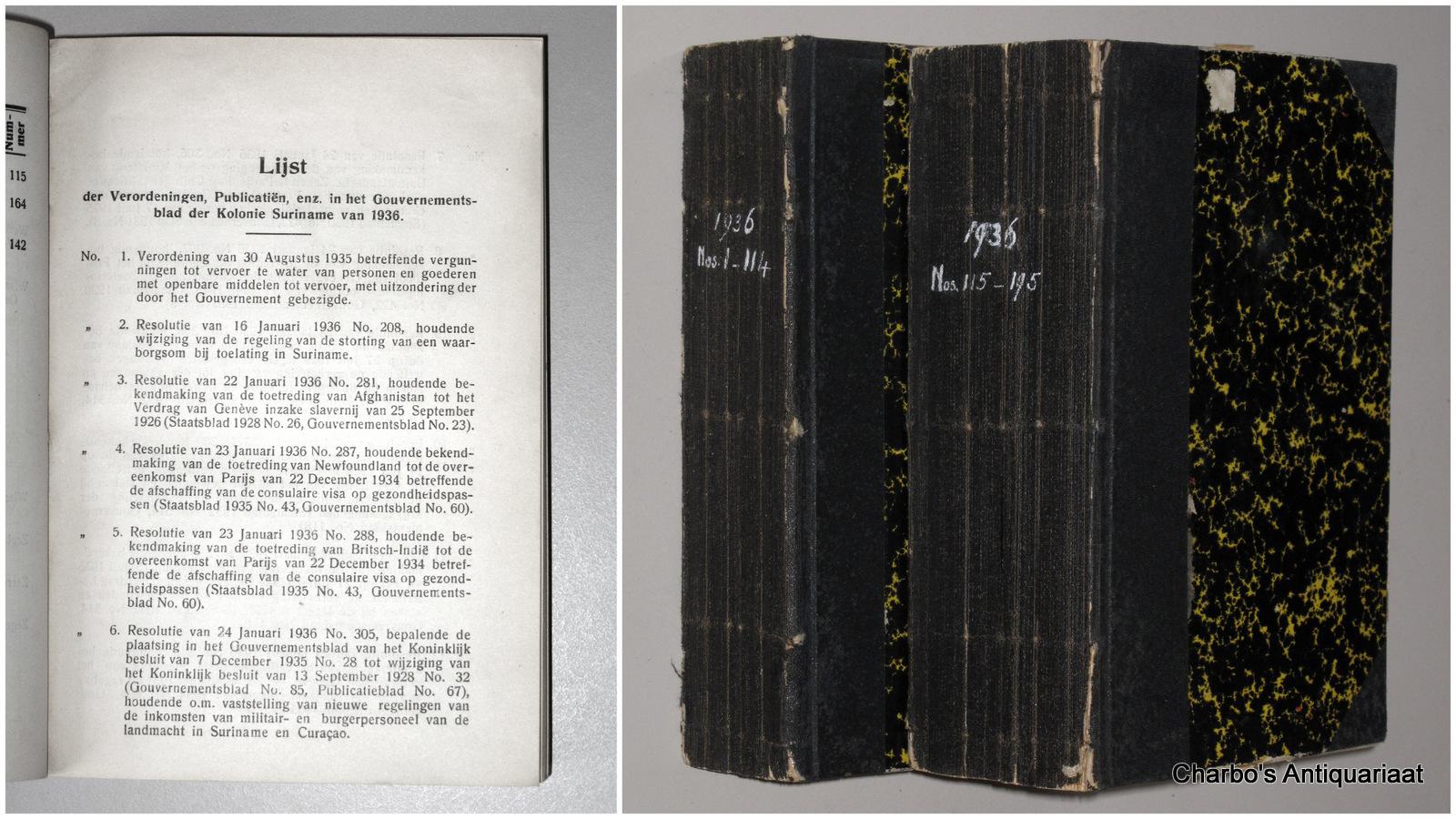 SURINAME. -  Gouvernementsblad van de Kolonie Suriname 1936.