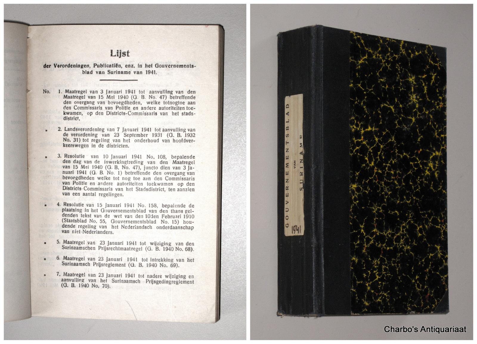 SURINAME. -  Gouvernementsblad van Suriname 1941.