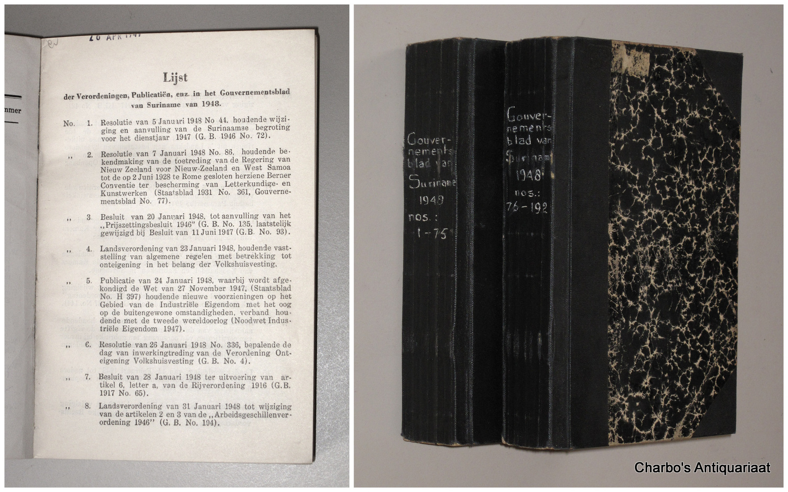 SURINAME. -  Gouvernementsblad van Suriname 1948.