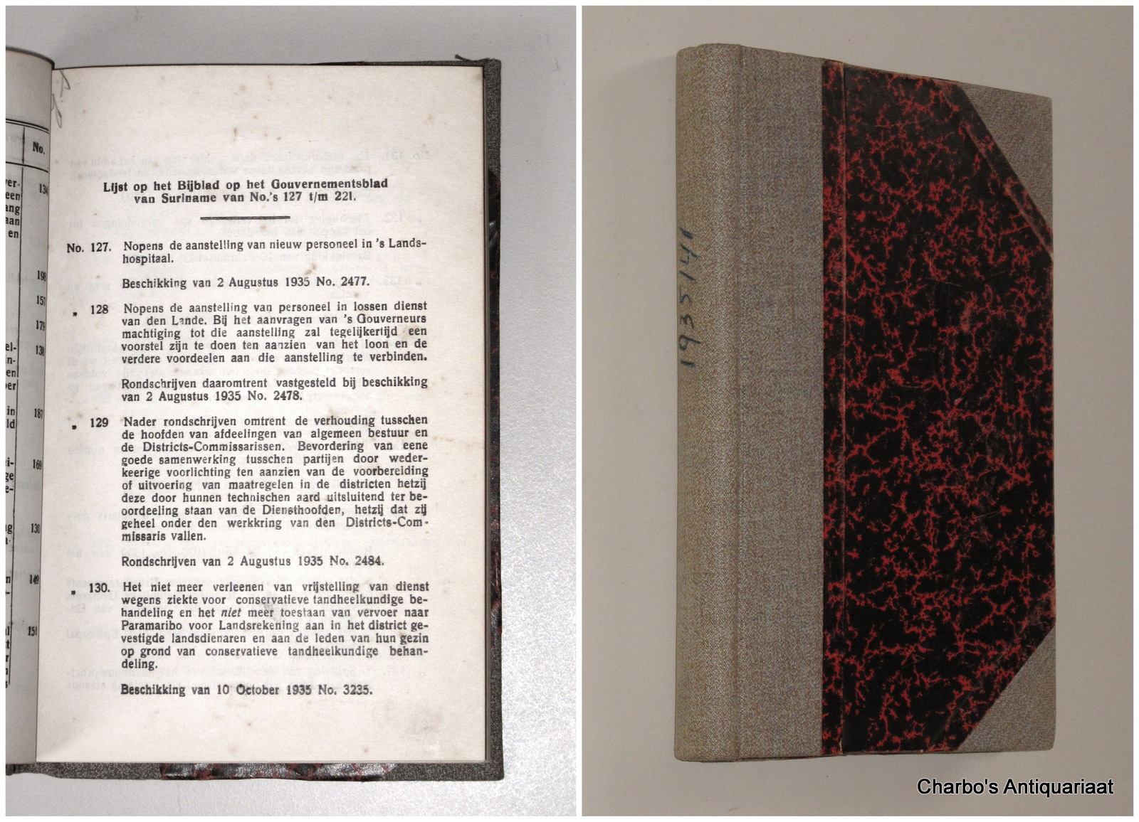 SURINAME. -  Bijblad op het Gouvernementsblad van Suriname van No.'s 127 t/m 221. (1935-1941).